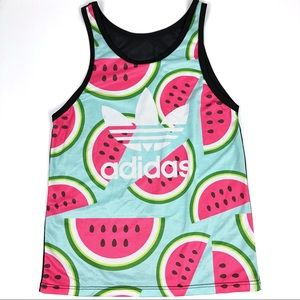 Adidas Trefoil Mesh Tank Top Spell Out Watermelon